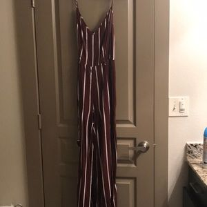 Stripped Maroon Body Suit with White Stripes